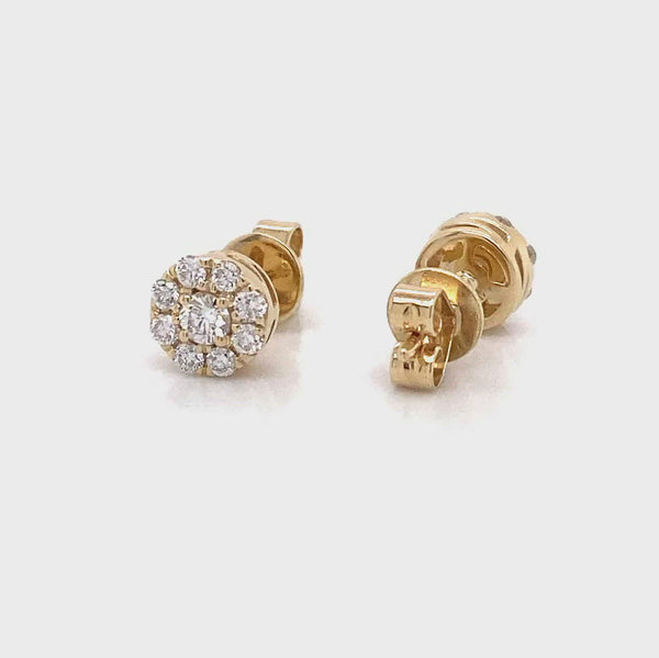 14k yellow gold halo diamond earrings lab created vena nova