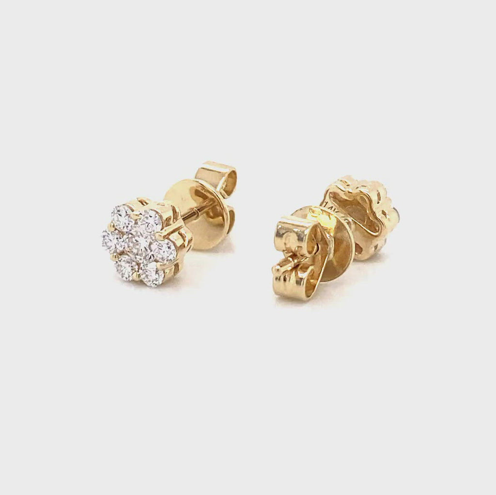yellow gold lab created diamond flower earrings by vena nova