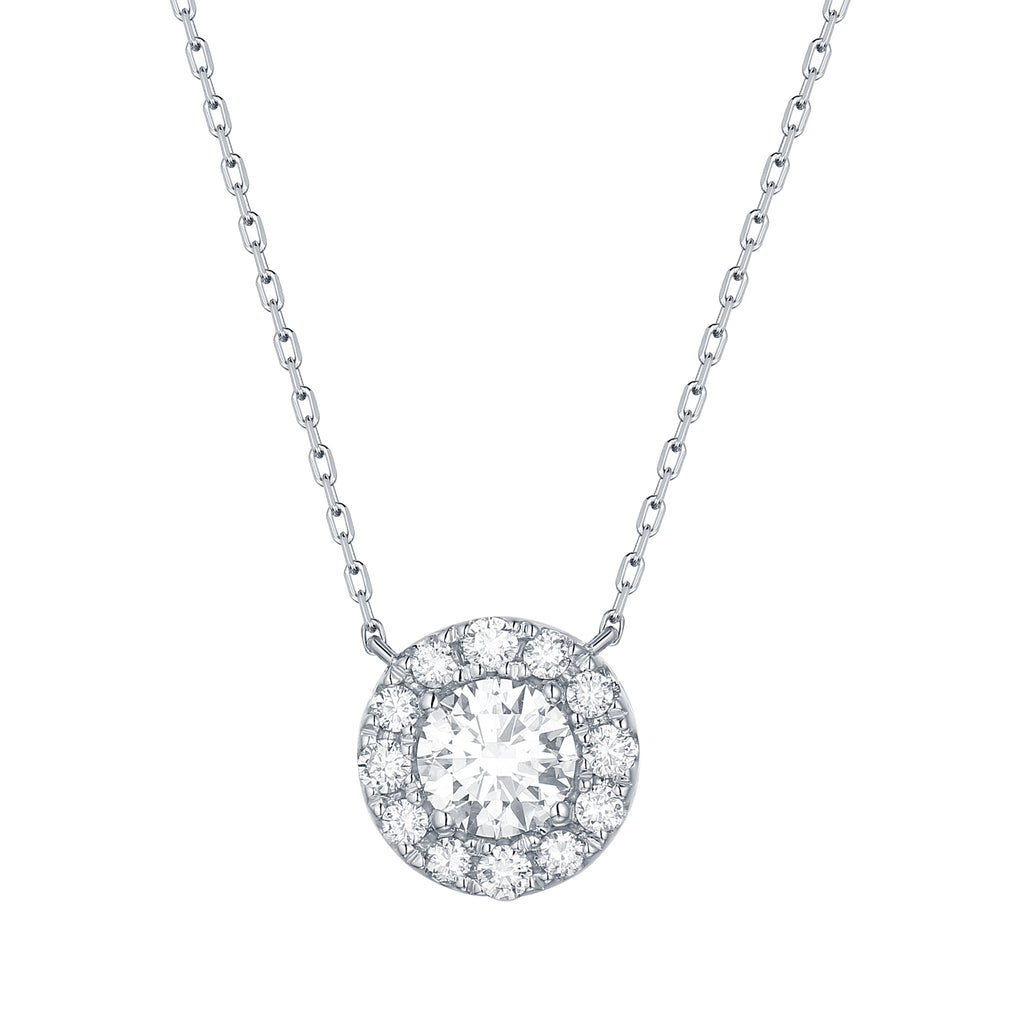 14k lab created diamond halo pendant necklace on a white gold chain 0.54ct by vena nova