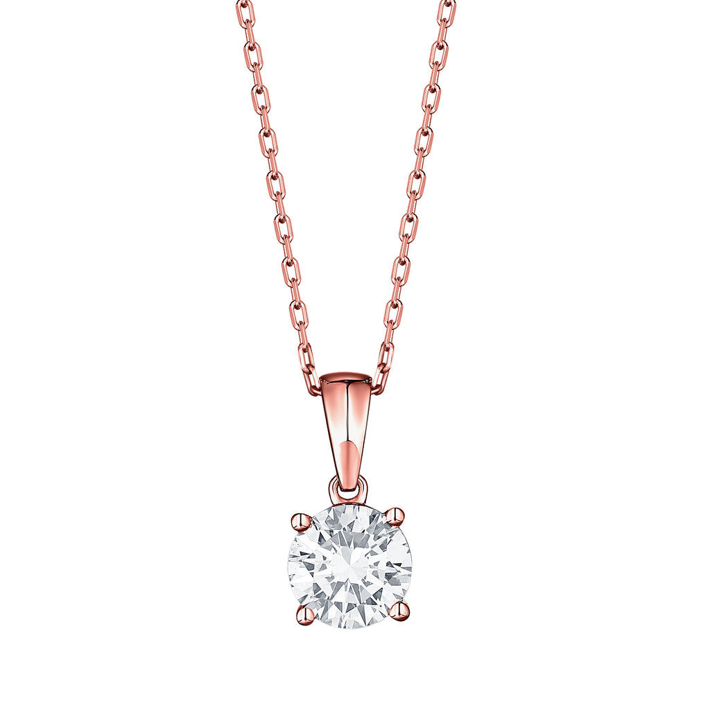 14k round lab grown diamond solitaire pendant necklace with a rose gold chain 0.26ct -vena nova