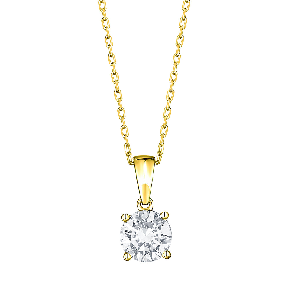 14k round lab grown diamond solitaire pendant necklace with a yellow gold chain 1.09ct -vena nova