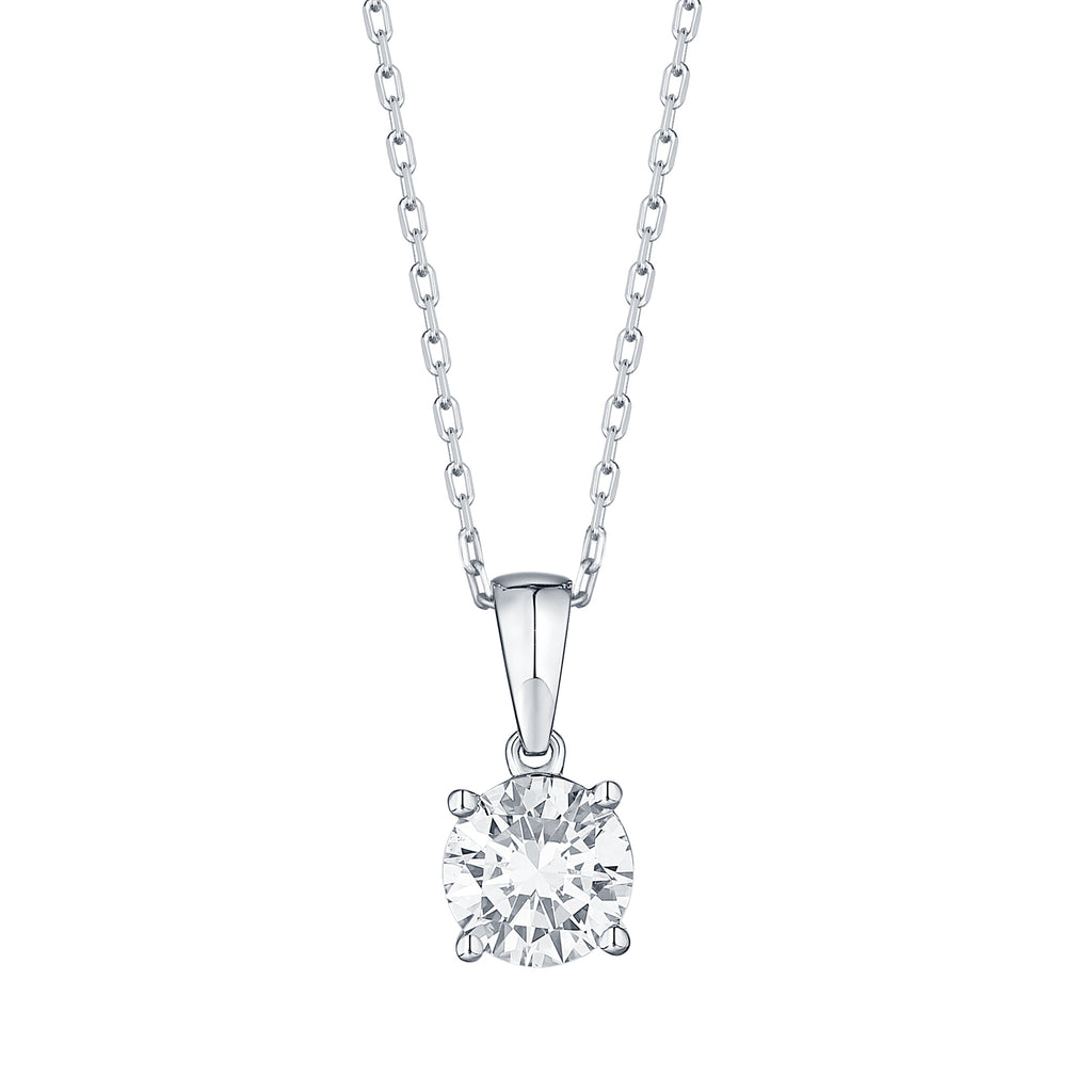 14k round lab grown diamond solitaire pendant necklace with a white gold chain 1.09ct -vena nova