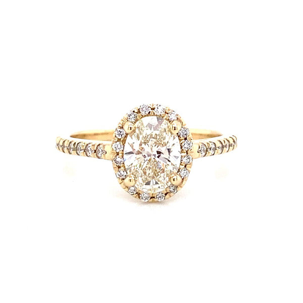 Diamond Halo Oval Ring in 14k Yellow Gold 1.01ct lab created diamonds