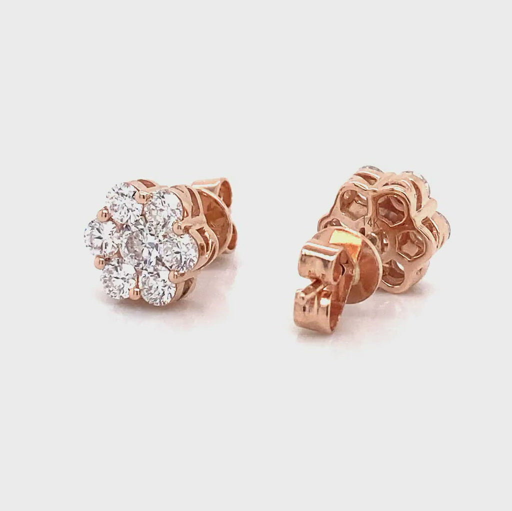 lab created diamond rose gold flower earrings in 1.46ct stud made by vena nova