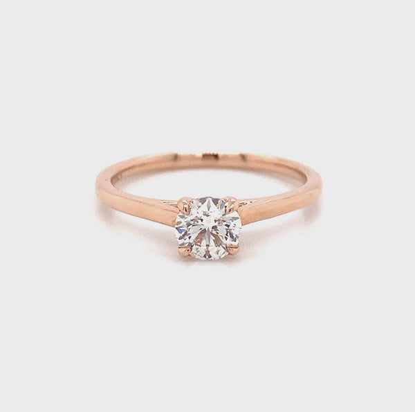 Lab Created Diamond - Diamond Solitaire Ring- 14k Rose Gold 0.56ct
