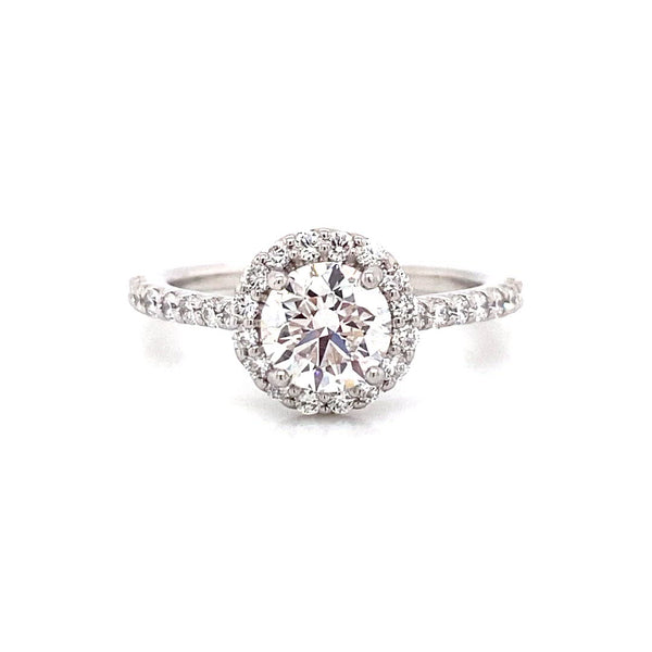 Vena Nova's Lab Created Diamond Halo Ring (Round) in 18k White Gold and 1.00ct