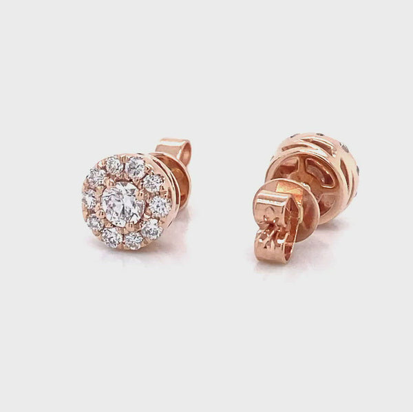 14k rose gold halo earrings in 0.76ct made by vena nova lab created diamonds