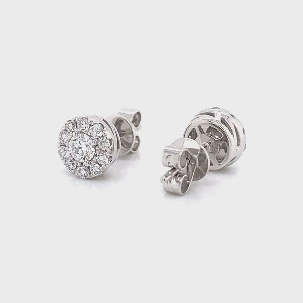 halo earrings - 14k white gold halo earrings in 0.74ct vena nova lab grown lab created diamonds