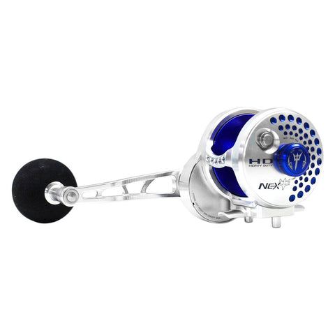 NEXT Overhead Jigging Reel Lever Drag - Silver/Blue (Right Or Left Handed)