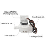 JOHNSON 12V Bilge Pump 475GPH