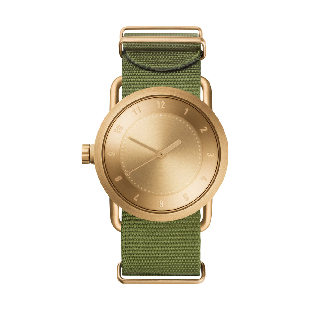 TID Watches - 36mm No.1 Gold w/ Green Nylon Wristband