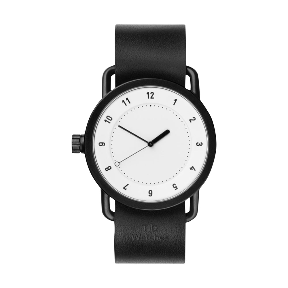 TID Watches - 40mm No.1 White w/ Black Leather Wristband