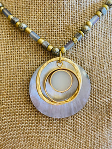 Shell and Gold Ring Pendant on Beaded Chain Necklace