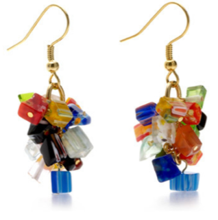 Mosaic Glass Chip Earrings