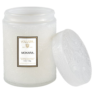 Glass Embossed Candle with Lid
