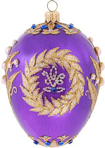 Purple Golden Wreath Egg Ornament