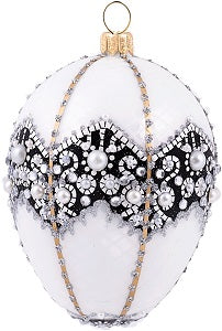 White Pearl Crown Egg Ornament