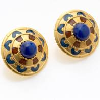 Enameled Shield Earrings