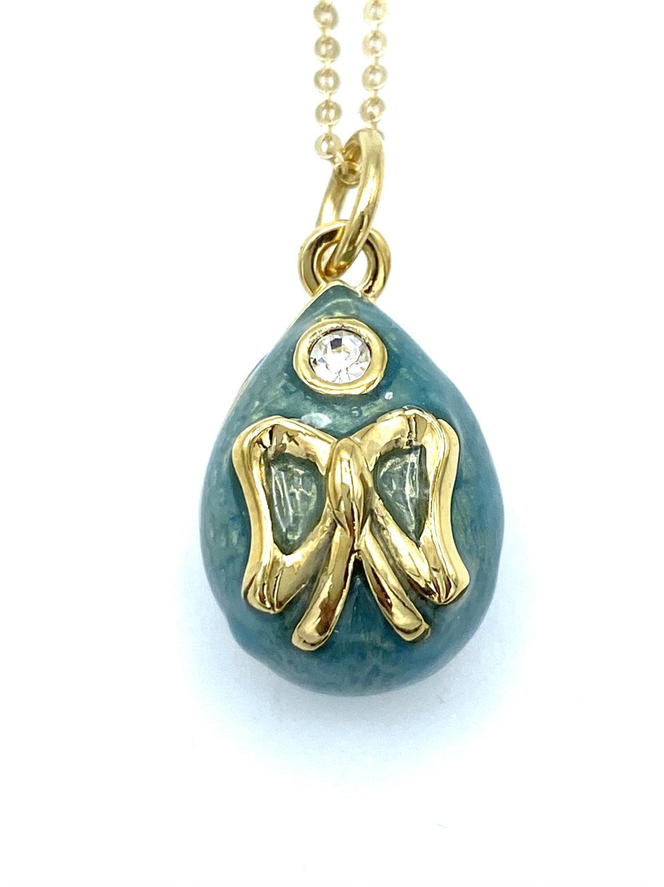 Turquoise Bow Egg Necklace