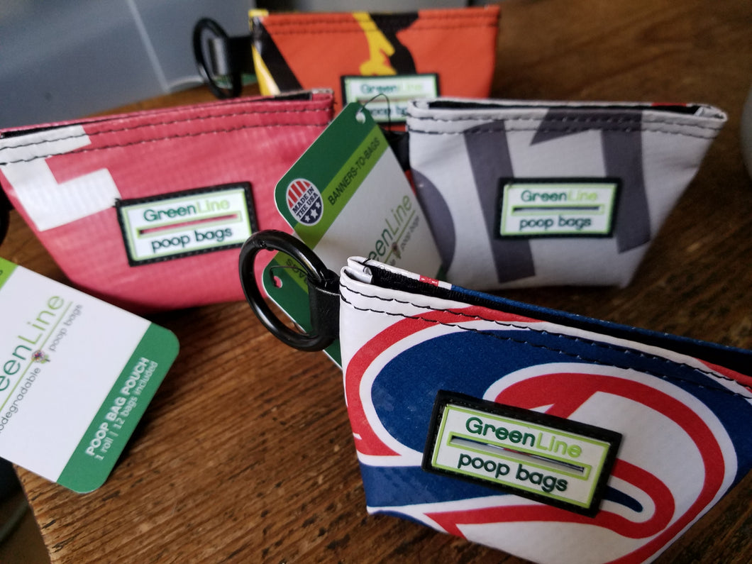 Upcycled Banner Pet Poo Bag Pouches and Biodegradable Bags by GreenLine Supply