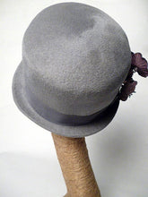 Load image into Gallery viewer, MILLIE Grey Fur Felt Cloche with Velvet Flowers by Tonya Gross Millinery