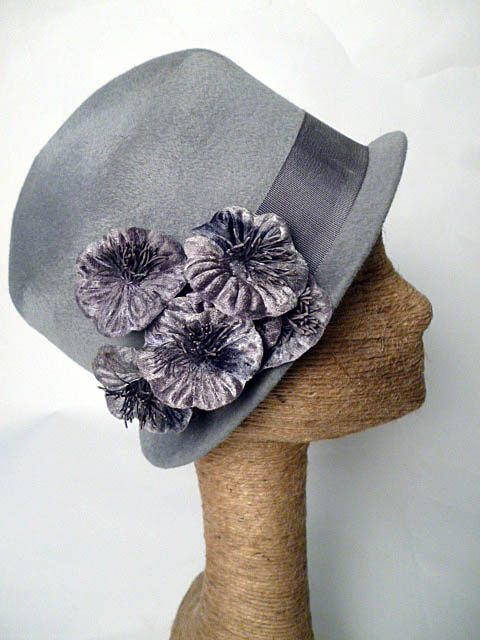 MILLIE Grey Fur Felt Cloche with Velvet Flowers by Tonya Gross Millinery