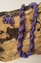 Load image into Gallery viewer, Amethyst and lavender purple seed bead necklace and earring set with silver clasps