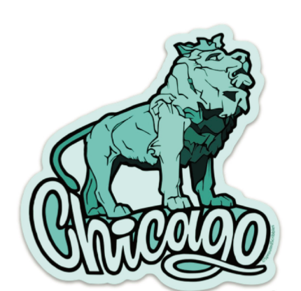 Art Institute of Chicago Lion Sticker by Sprouted Scribbles