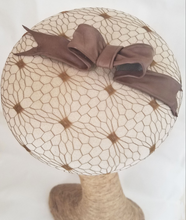 Load image into Gallery viewer, Light Beige Couture Beret Hat With Veiling and Leather Bow by Tonya Gross Millinery