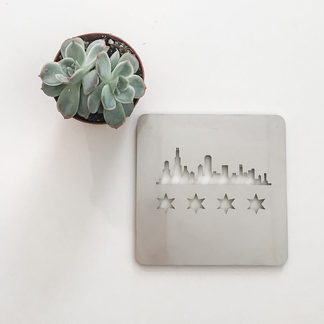 Stainless Steel Chicago Skyline Flag 4x4 Coaster Set by CSMcreative