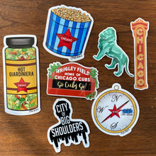 Load image into Gallery viewer, Set of 5 stickers: The Compass, Chicago Theater Sign, Art Institute Lions, Wrigley Field Sign, Chicago Mix Popcorn, City of Big Shoulders, and Hot Giardiniera