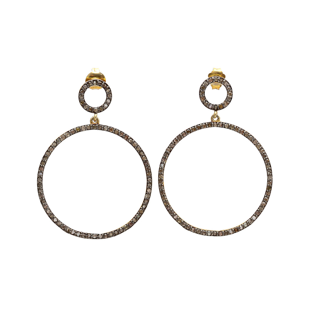 Open Circle Pave Diamond Double Hoop Earrings by Indie-Pendant