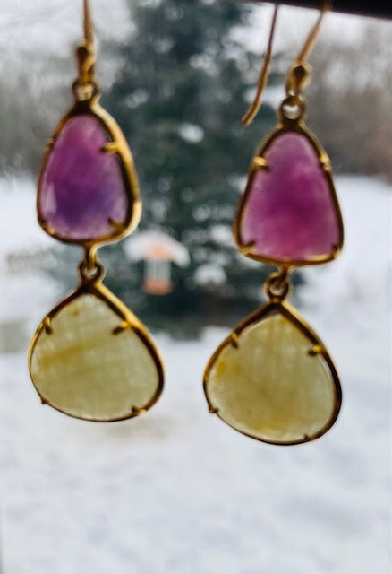 Gold Vermeil Violet and Yellow Sapphire Drop Earrings by Indie-Pendant