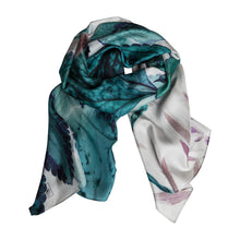 Load image into Gallery viewer, Inside the Green Silk Story Scarf by ImageDiary