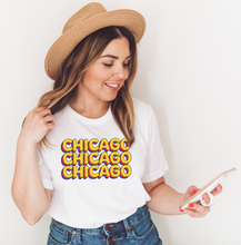 Load image into Gallery viewer, White t-shirt with Chicago x3 in yellow and red letters
