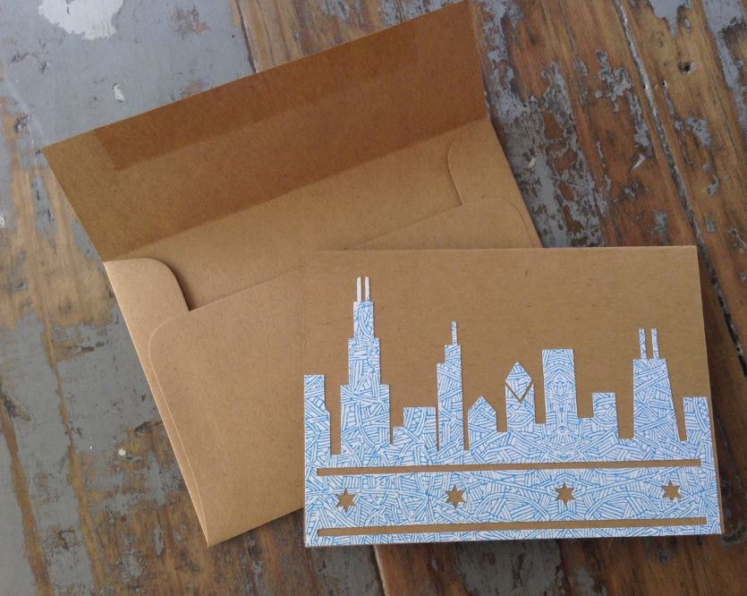 Chicago Skyline Recycled Paper Notecard Made by Q