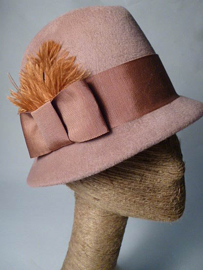 MIRANDA Dusty Pink Fur Felt Fedora Hat by Tonya Gross Millinery