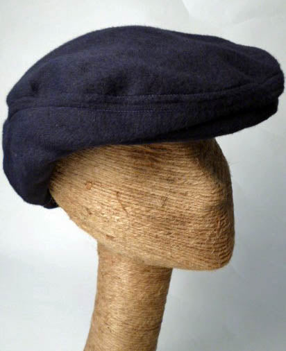 Navy Blue Cashmere Driving Cap by Tonya Gross Millinery