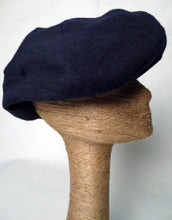 Load image into Gallery viewer, Navy Blue Cashmere Wool Driving Cap by Tonya Gross Millinery