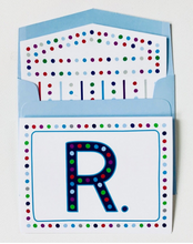Load image into Gallery viewer, Set of 10 BLOCK INITIAL with MULTI DOT Greeting Cards by Mighty Violet