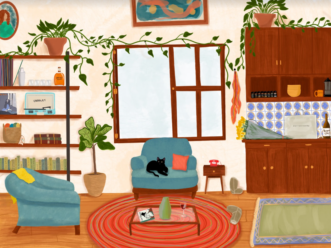 Warm and colorful earth tones art print of original still life painting by Shelby Roller Studio. Still life painting depicts a living room in teal blues, reds, and greens with wood floors and cabinets and a black cat on a comfy chair.