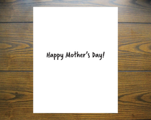 "Load image into Gallery viewer, Outside - A woman carries a French bulldog in a backpack on a coral background. The text says ""Thanks for taking care of the kids""  Inside - text says ""Happy Mother's Day!"""