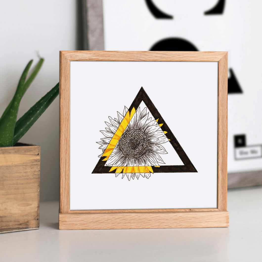 Triangle Sunflower Original Art Print by Hof Draws