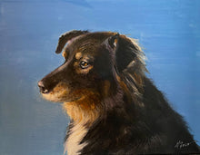 Load image into Gallery viewer, Hawkeye pet portrait by Marietta Faso of Leopardogart for Shop Small Chicago