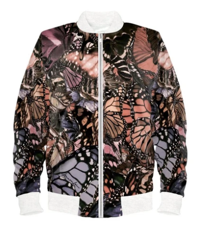 Satin Bomber Jacket in Mauve Brown Butterfly Digital Print Fabric for Women by Lauren Lein