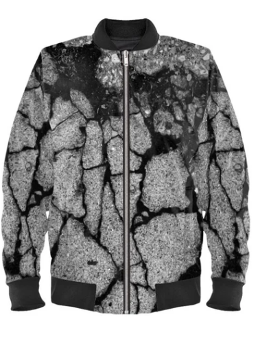 Satin Bomber Jacket in Concrete Digital Print Fabric for Women by Lauren Lein