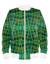 Load image into Gallery viewer, Satin Bomber Jacket in Glassblock Digital Print Fabric for Men by Lauren Lein
