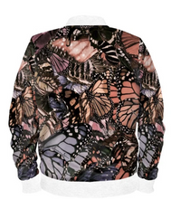 Load image into Gallery viewer, Satin Bomber Jacket in Mauve Brown Butterfly Digital Print Fabric for Women by Lauren Lein