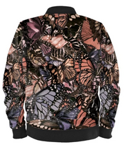 Load image into Gallery viewer, Mauve Butterfly Digital Print Satin Bomber Jacket for Men by Lauren Lein