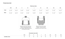 Load image into Gallery viewer, Satin Bomber Size Chart for Men by Lauren Lein